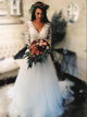 A Line V Neck Wedding Dress Lace Cheap Tulle Wedding Dress With Sleeve # VB5029