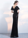 Sheath/Column V-neck Floor-length Short Tulle Prom Dress/Evening Dress # VB503