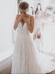Chic V Neck Wedding Dress Ivory Cheap A Line Wedding Dress # VB5035