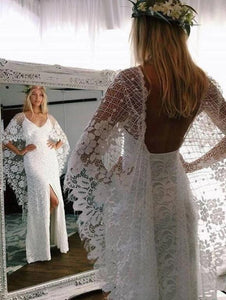 Backless Batwing Sleeve Boho Wedding Dresses Mermaid Rustic Wedding Dress VB5037