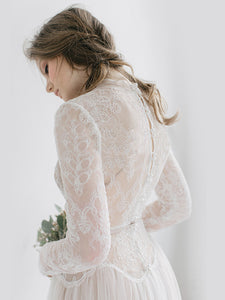 Lace Long Sleeve Wedding Dress Cheap A Line Wedding Dress # VB5040
