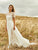 Ivory Chiffon Wedding Dress Cheap A Line Backless Wedding Dress With Sleeve # VB5041