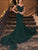 Mermai Off The Shouder Green Sparkly Prom Dress With Sweep Train VB5048