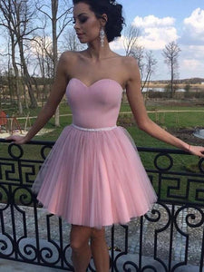Sweetheart Pink Homecoming Dress A Line Tulle Short Prom Drsess VB5051
