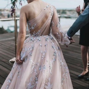 Unique Long Sleeve Prom Dresses One Shoulder A-line Sparkly Prom Dress Long Evening Dress # VB5054