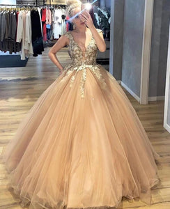 A-line V-neck Tulle Long Prom Dresses Ball Gown Appliques Quinceanera Dress VB5060