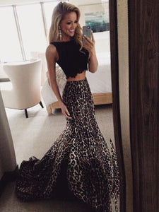 Leopard Print Black Prom Dresses Long Mermaid Two Piece Evening Gowns VB5063