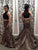 Leopard Print Black Prom Dresses Mermaid Two Piece Beading Evening Gowns VB5064