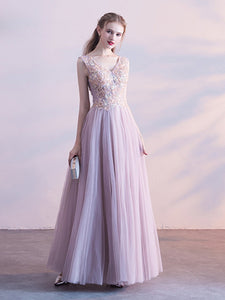 A-line Straps Floor-length Sleeveless Tulle Prom Dress/Evening Dress # VB506