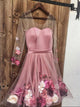Charming V neck 3D Applique Short Prom Dresses, Pink Long Sleeves Homecoming Dress # VB5070