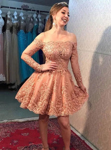 Off-Shoulder Long Sleeves Coral Lace Appliques Short Prom Dress, Homecoming Dress  # VB5072