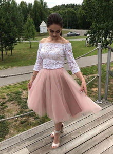 Two Piece Cheap Homecoming Dress Off-Shoulder Lace Short Prom Dresses # VB5074