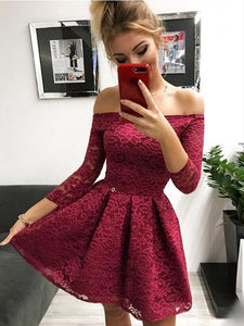 Off-the-Shoulder Long Sleeves Burgundy Lace Homecoming Dress # VB5084