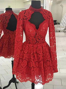 Cheap Lace Red Chic Long-Sleeves A-Line Homecoming Dresses # VB5086