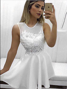 White A-line Homecoming Dress, Cheap Party Dresses with Appliques # VB5087