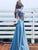 Chic Two Piece Blue Party Gowns Lace Long Sleeves A Line Prom Dresses # VB5088
