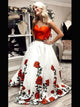 Gorgeous Satin Prom Dress Two Piece Floral Long Prom Dress # VB5089