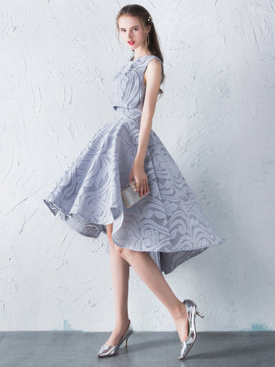 A-line Bateau Asymmetrical Sleeveless Satin Homecoming Dress/Short Dress # VB509