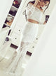 White Off Shoulder Long Sleeves Lace Two Piece Evening Dresses # VB5090