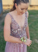 Chic V Neck Prom Dress A Line Tulle Cheap Long Prom Dress #VB5091