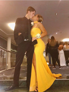 Mermaid Yellow Prom Dress Sexy Sweetheart Cheap Long Prom Dress #VB5092