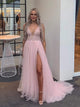 A Line Pink Prom Dress V Neck Tulle African Prom Dress #VB5093