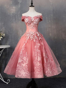 Off-Shoulder Short Prom Dress, Watermelon Homecoming Dress With Sleeve # VB5098