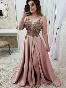 Chic Satin Prom Dress A Line Cheap Long Pink Prom Dress #VB5103