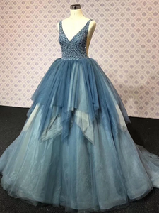 Ball Gown V Neck, Plus Size Beading Tulle Prom Dress # VB5104