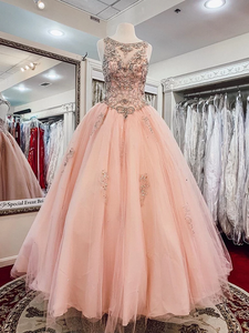 Ball Gown Pink Prom Dress Plus Size Beading Tulle Prom Dress # VB5105