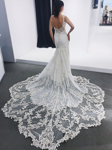 Mermaid Ivory Wedding Dresses Sexy Beading African Wedding Dresses VB5107