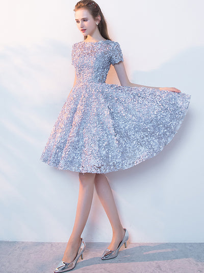 A-line Bateau Knee-length Short Tulle Homecoming Dress/Short Dress # VB511