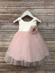 Tulle overlay Flower Girl Dress with Pin on Silk Flowers, Three colors available VB5121