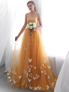 Gold Long Prom Dresses with Appliques Evening Dresses Strapless VB5129