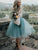 A-line Scoop Long Sleeve Homecoming Dress Tulle Short Prom Drsess With Lace # VB5130