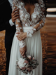 V-neck Lace Long Sleeve Beach Wedding Dresses Chiffon Bridal Gown With Split VB5134