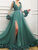 V Neck Long Sleeve Prom Dresses Green African Evening Dresses VB5138