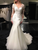 Mermaid Tulle Scoop Neck Sweep Train Lace Wedding Dresses with Appliques,VB5142