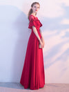 A-line Bateau Floor-length Short Satin Prom Dress/Evening Dress # VB515