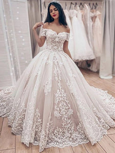 Ball Gown Vintage Wedding Dress Off The Shouder Lace Wedding Dress VB5157