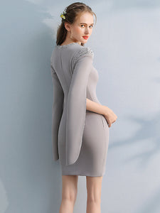Sheath/Column Scoop Short/Mini Long Sleeve Satin Homecoming Dress/Short Dress # VB517