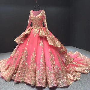 Ball Gown Plus Size Prom Dress Vintage Quinceanera Dress With Sleeve # VB5170