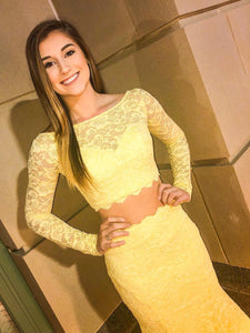 Two Piece Mermaid Prom Dress, Yellow Lace Bridal Gown With Sleeves VB5174