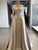 Vintage Beading Prom Dress, Sheath Satin Long Sleeves Bridal Gown VB5177