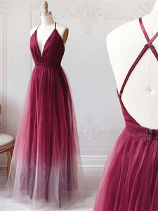 Ombre Burgundy A Line Prom Dress Cheap Simple Formal Dress VB5181