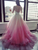 Ombre Ball Gown Evening Dress, Beading Backless Formal Gown With Sleeve VB5205