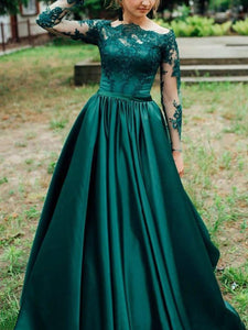 Green Plus Size Prom Dress, Satin African Long Sleeves Evening Dress VB5215