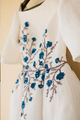 Elegant Ivory Wedding Dresses Bateau Embroidery Romantic Half Sleeve Bridal Gown  VB5247