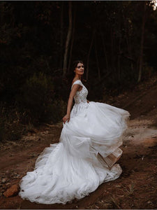Off The Shoulder Tulle Wedding Dress A Line Beauty Wedding Dress With Sleeve VB5252