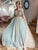 A-Line V Neck Tulle Blue Beading Prom Dresses Vintage Evening Dress VB5262